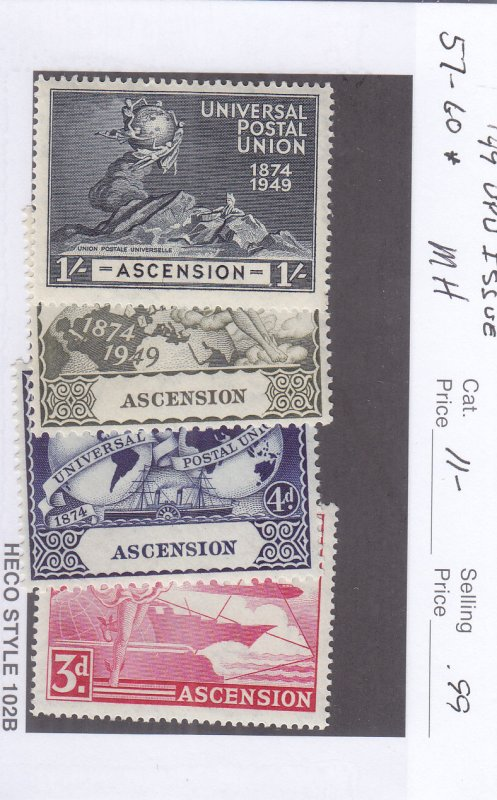 1949, Ascension: UPU Issue, Sc #57-60, MH (S17972)