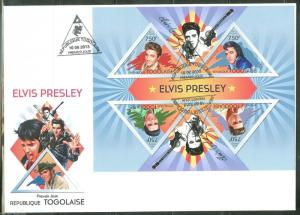 TOGO  2013 ELVIS PRESLEY SHEET FIRST DAY COVER