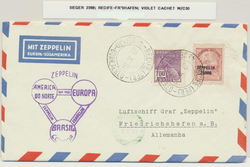 BRAZIL -GERMANY 1933 GRAF ZEPPELIN COVER, RECIFE TO FR'SHAFEN Si#239BVIOLET CACH