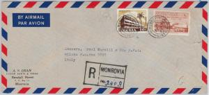 palm trees  LIBERIA  -  POSTAL HISTORY - REGISTERED AIRMAIL COVER to ITALY 1963