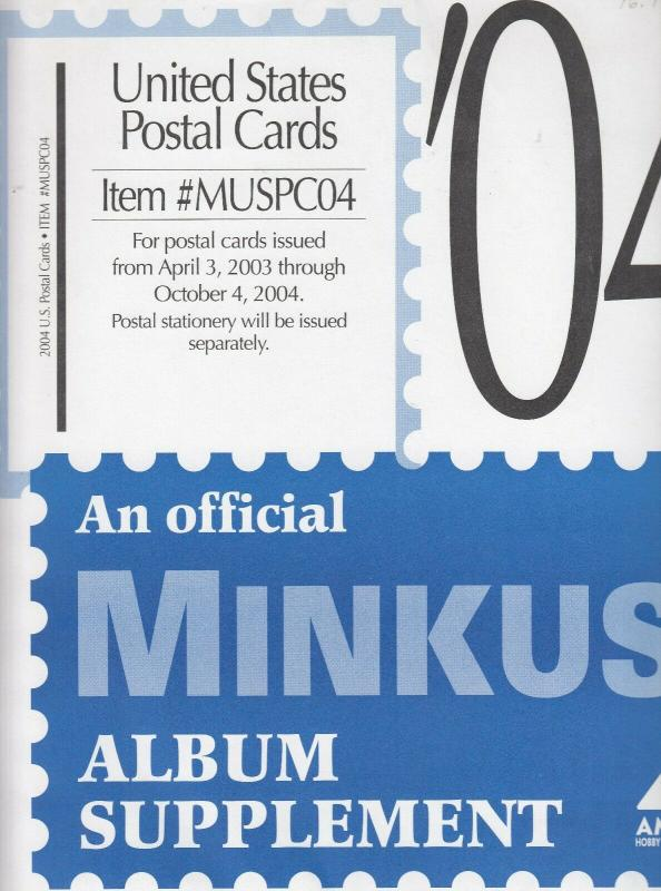 Minkus United States Postal Cards 2004 Supplement Brand New