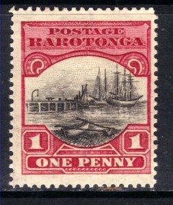 Rarotonga 1920 1d Black & Carmine ( cook islands ) MM SG 71 ( F18 )