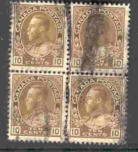 CANADA 118 USED BLOCK OF 4 KING GEORGE V 1911