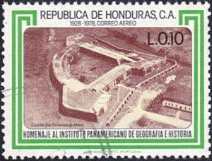 Honduras # C677 used ~ 10¢ Fort San Fernando de Omoa