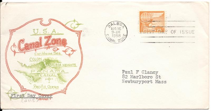 CZ#C30 on First Day Cover - Color Map Cachet