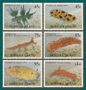 Norfolk Island 1993 Nudibranchs, MNH #538-543,SG550-SG555