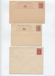 Queen Victoria and Edward VII stationery - 2 Gold Coast, 1 Sierra Leone [y2466]