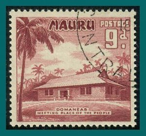 Nauru 1954 Meeting House, 9d used #44,SG53