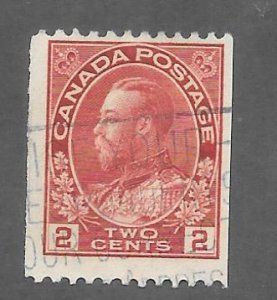 Canada Scott #132 Used 2c King George V Horizontal Coil  2018 CV $10.00