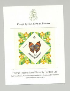 Maldives #454 Butterflies 1v S/S Imperf Proof, Stamp is affixed to background