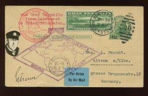 C13 Graf Zeppelin Air Mail Used Stamp Pilot Eckener Signed Post Card (C13-164)