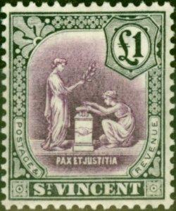 St. Vincent 1928 £1 Mauve & Black SG141 V.F Lightly Mtd Mint
