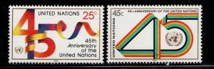 NACIONES UNIDAS/UNITED NATIONS NEW YORK 1990 MNH SC.577/578 UN 45th Annv.
