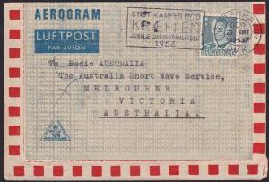 DENMARK 1953 60o aerogramme commercially used to Australia..................5855