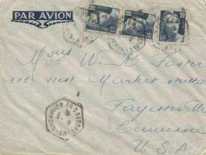 France 10F Marianne Gandon Engraved (3) 1946 Ploumanac'h, Cotes du Nord Airma...