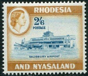 RHODESIA & NYASALAND-1959-62 2/6 Light Blue & Yellow-Brown Sg 28 UM V48370