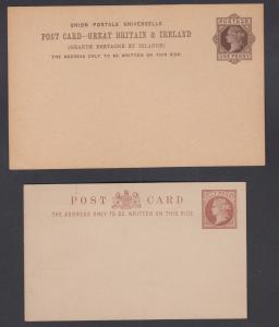 Great Britain H&G 10, 16b mint 1883-1885 Queen Victoria Postal Cards, 2 diff