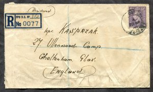 p47 - GB 1947 POLAND Army Registered Cover. FPO 406 Registration Label