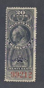 Canada Revenue Weights & Measures Stamp #FWM37-20c Used F Guide Value = $35.00