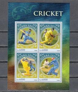 Sierra Leone, 2016 issue. Cricket Sport sheet of 4.