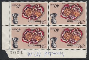 Mauritius, SG 392aw, MNH blk of four Watermark Inverted variety