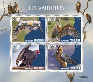 TOGO - 2019 - Birds : Vultures - Perf 4v Sheet - M N H