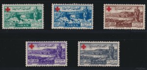 Lebanon Sc #CB5-9 (1947) Red Cross Semi-Postal Airmail Set Mint VF LH