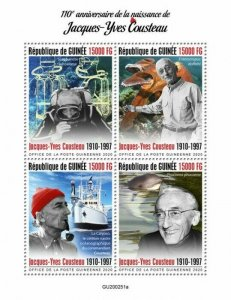 2020/10- GUINEA - JACQUES YVES COUSTEAU          4V    MNH **