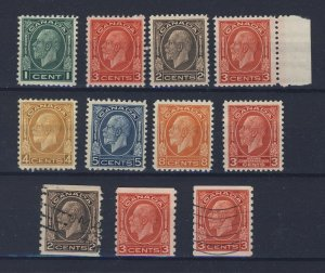 11x Canada George V Stamps #195-196-197-197-198-199-200-206-207-207 GV= $132.00