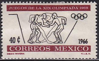 Mexico 975 Hinged Unused 1966 Olympic Wrestling