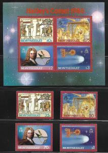 MONTSERRAT 605-612, 613-614 MNH HALLEY'S  COMET SET & SOUVENIR SHEETS