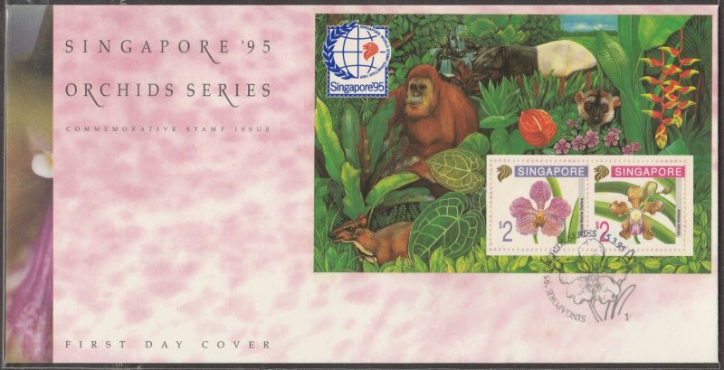 1995 Singapore '95 Orchids Series (5th Issue) MS FDC SG#MS797