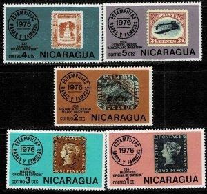 Nicaragua 1976 Sc 1038-42 Rare Stamps of Mauritios Australia Jamaica MH Us
