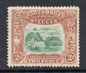 St Lucia 1902 EDVII 2d The Pitons SG 63 mint