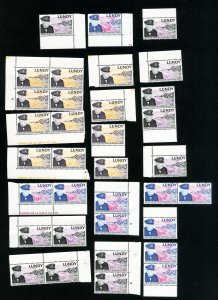 Lundy Island Stamps VF Lot of 12 sets of 3 Churchill values