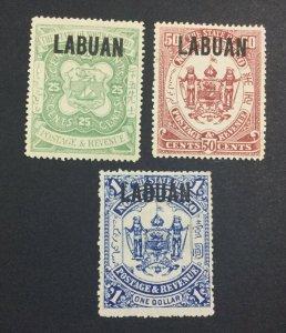 MOMEN: LABUAN SG #80-82 1896 MINT OG H £164 LOT #6931
