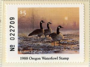 US OR5 OREGON STATE DUCK STAMP 1988 MNH SCV $14.00 BIN $7.00