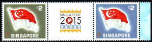 Singapore 1733 pair, MNH. Flag of Singapure, 2015