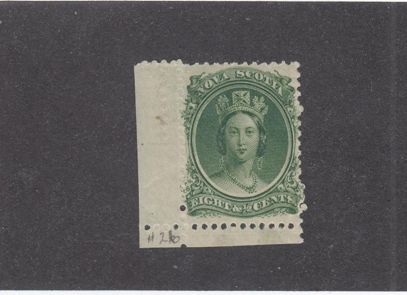 NOVA SCOTIA  # 11  VF-MNH  81/2cts  Q/VICTORIA WITH MARGIN GREEN CAT VALUE $40