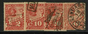 Chile 4 1896 Postage Due Used Stamps, J38 very shallow ctr thin - S12419
