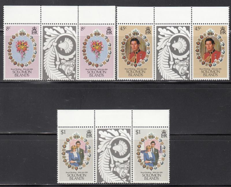 Solomon Islands, Sc 450-452, MNH, Royal Wedding, Gutter Pair
