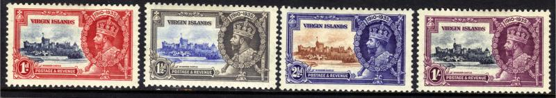 British Virgin Islands 1935 KGV Set Silver Jubilee MM SG 103 - 106 ( J1275 )