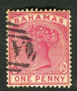 BAHAMAS; 1880s classic QV Crown CA issue used 1d. value,
