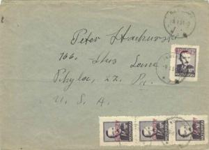 Poland 10Z Bierut Overprinted red-violet Type 3 Groszy (4) 1951 Tluchowo to P...