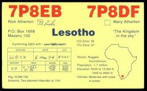 QSL QSO RADIO CARD Rick Atherton,Lesotho,The Kingdom In The Sky, (Q3018)