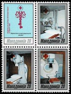 1993 Macedonia Postal Tax Block Of Four Scott Catalog Number RA31a Unused