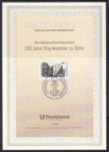 Germany, Scott cat. 1636. Music Hall issue. Postal Bulletin. F.D.C. ^