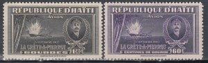 Haiti, Sc C22-C23, MVLH, 1943, Killick Type of Reg. Issue