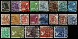 GERMANY ALLIED 1947-48 COMPLETE SET USED(VFU)  SG928-948 Wmk.230 P.14 SUPERB