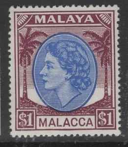 MALAYA MALACCA SG36 1954 $1 BRIGHT PURPLE & BROWN-PURPLE MNH